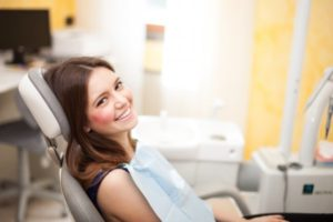A woman at her dental appointment.