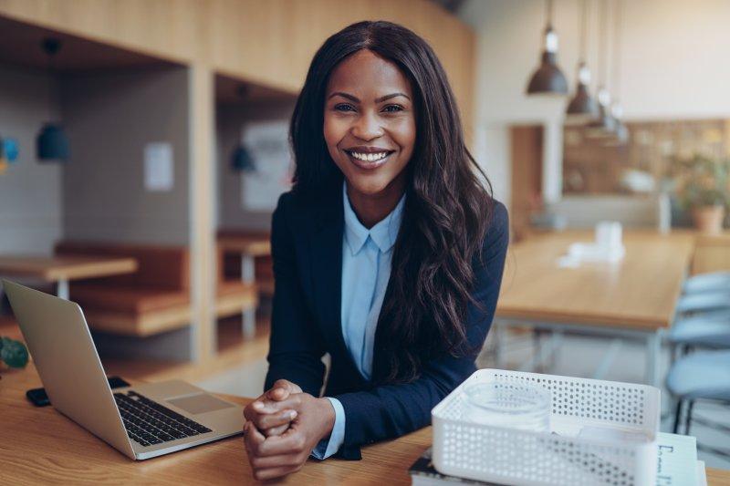 Businesswoman with Invisalign in Waco